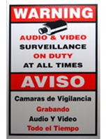 ACA-SIGN-3, Video Security Warning Sign, Large Size 11″(W) x 18″(H)