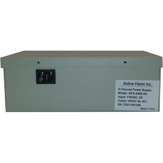 APS-2409-5A, 9 Ch CCTV Power Supply, 24v AC, 5 Amp Security Camera Power Supply with Individually Smart-Fused (PTC) Outputs, 1 Year Warranty