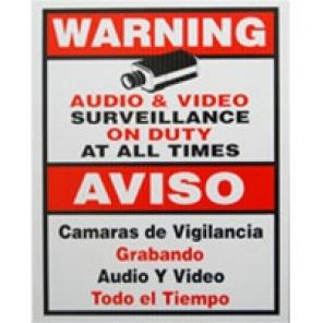 ACA-SIGN-2, CCTV Warning Sign, Medium Size 9″(W) x 11″(H)